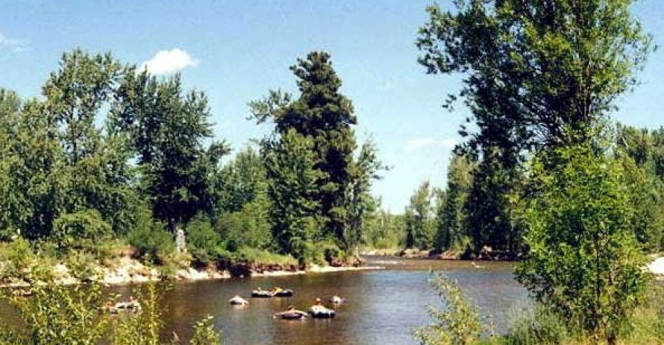 "Float Tubing the Bitterroot near Hamilton, Montana<br>(The fishing guides call this ""The Bikini Hatch"") - Bitterroot Rafting Adventures Fly Fishing Float Trips S cenic Rafting Trips"
